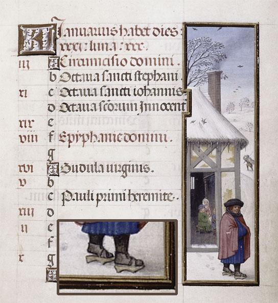 祈祷書に描かれているパッテン。雪道でも活躍。中期型。/New York Public Library, Spencer MS 36 (Bruges, 1500-20).