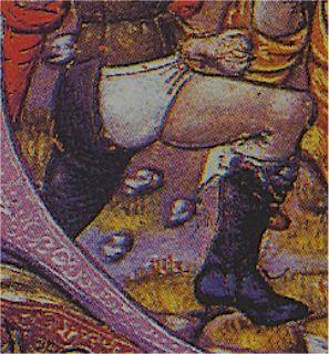 Calzas negras descosidas dejando visible las bragas blancas. Mediados del XV