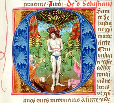 Martyrdom of St. Sebastian, prayerbook of Barbara von Cilly (ÖNB 1767, fol. 270r), 1448
