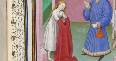 Detalhe de um quadro por Boccace, Le Décaméron, Flandres, século XV. Mulher de camisa a vestir porvavelmente uma saia.