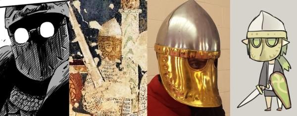"from ""Martirio di San Tommaso Becket"", Chiesa dei Santi Giovanni e Paolo, Spoleto / from http://www.redknight.co.nz/12th-century-itato-norman-helmet-with-brass-face-p"