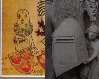 from De wapens van een aantal Brabantse steden ca 1370 weergegeven met hun helmtooi. / from johann II von Katzenelnbogen, Kloster Eberbach