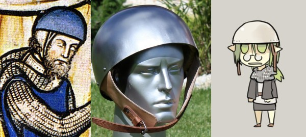 from Maciejowski Bible / from http://www.outfit4events.com/eur/product/8229-secret-helmet-cervelliere/