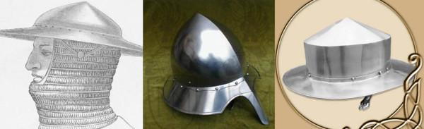from Dictionnaire raisonné du mobilier français de l'époque carlovingienne à la Renaissance , Viollet-le-Duc / from http://www.bestarmour.com/kettle_hat_5.html / from http://www.thevikingstore.co.uk/kettle-hat-defender-1744-p.asp