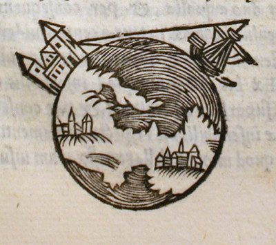 "Picture from a 1550 edition of: ""De sphaera mundi"""