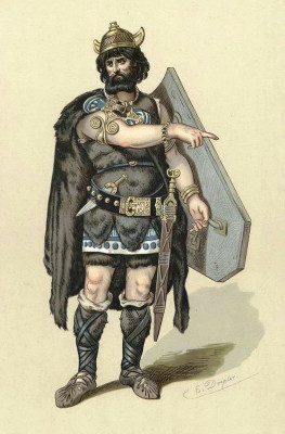 Stage costume for Hunding, character from The Rhine gold, by Richard Wagner (1813-1883). Illustration by Carl Emil Doepler (1824-1905), 1876.