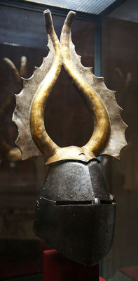 Great helm with decoration (cimier) of Albert von Prankh, Austria, 14th century.